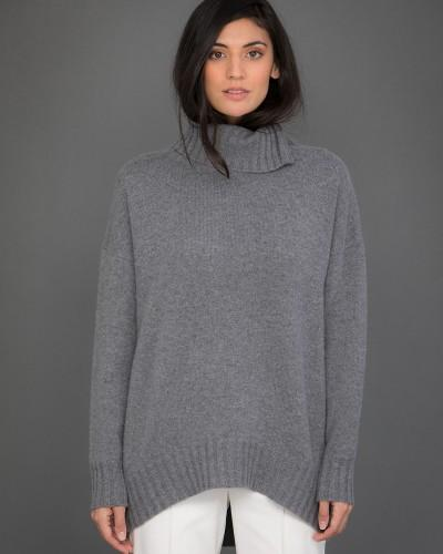 High Neck Cashmere Jumper  in Grey
