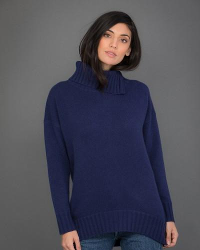 High Neck Cashmere Jumper in Blue
