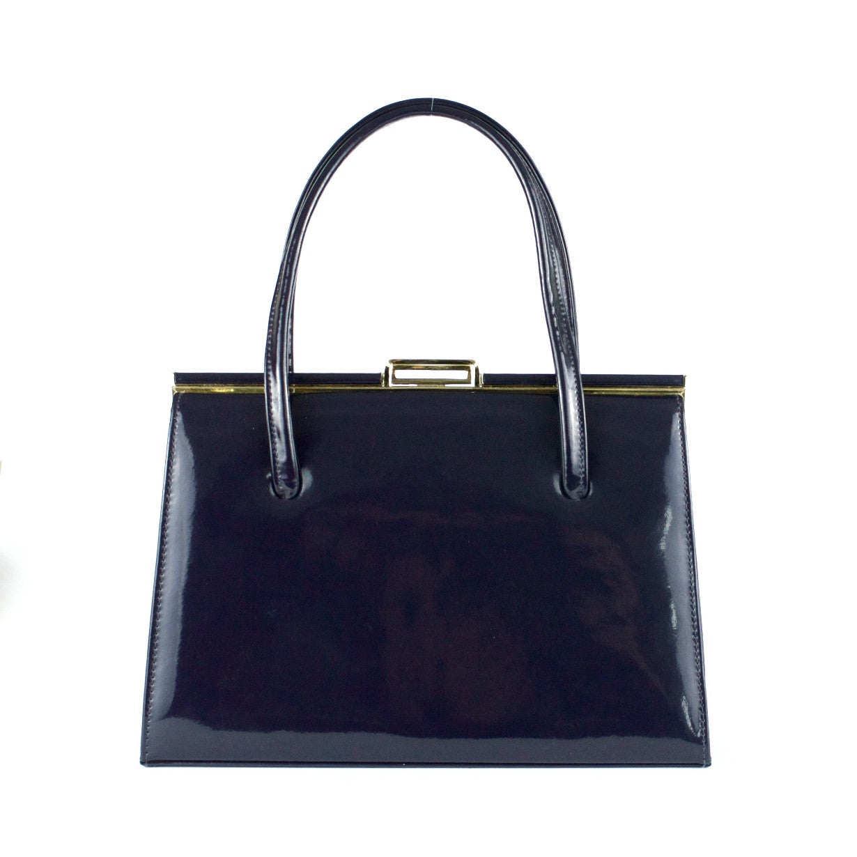 Ackery navy patent leather vintage handbag