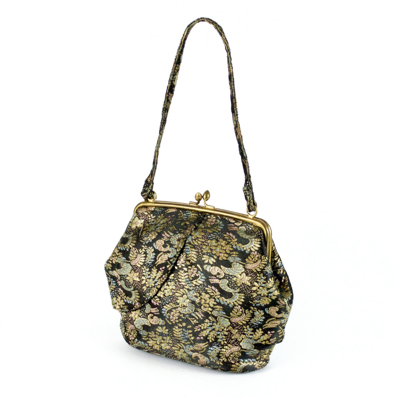 Bagcraft black and gold small silk vintage evening bag