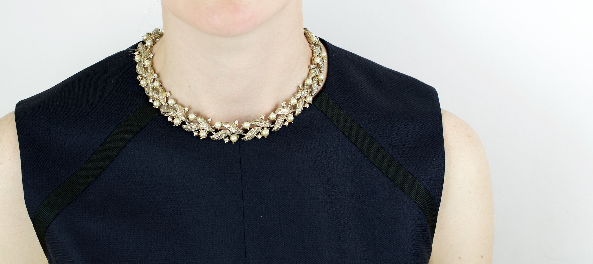 Coro Faux Pearl and Crystal Vintage Necklace
