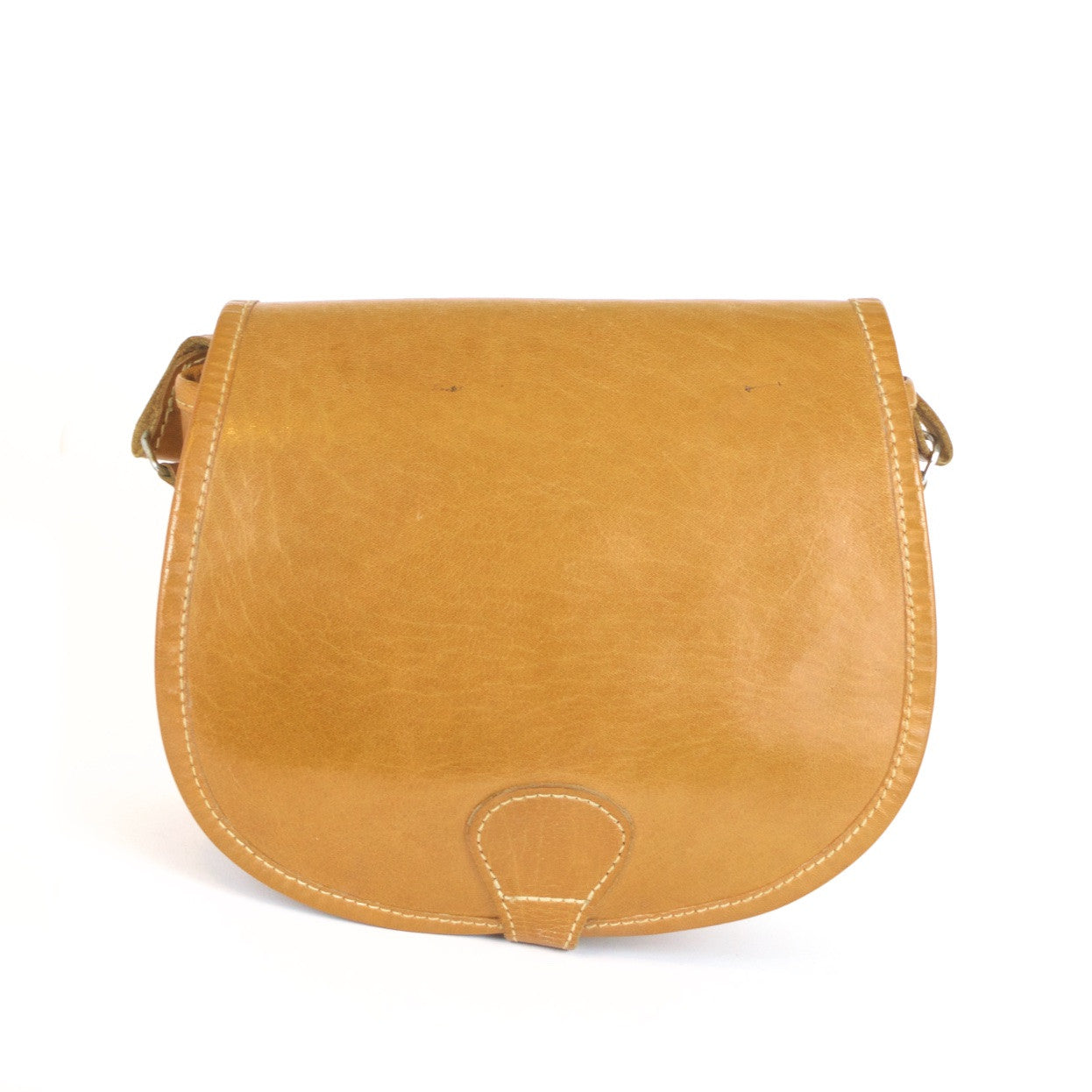 Mid tan leather vintage saddlebag