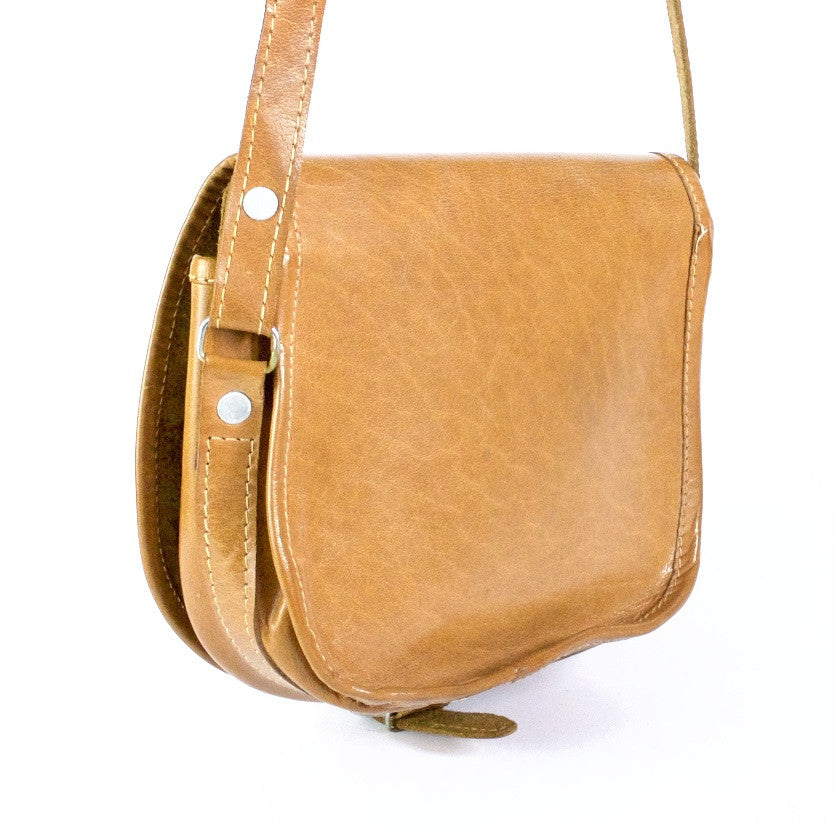 Tan leather vintage saddlebag