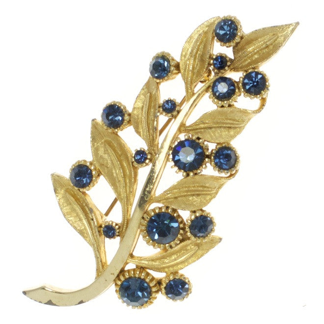 Large Sphinx Blue Leaf Vintage Brooch