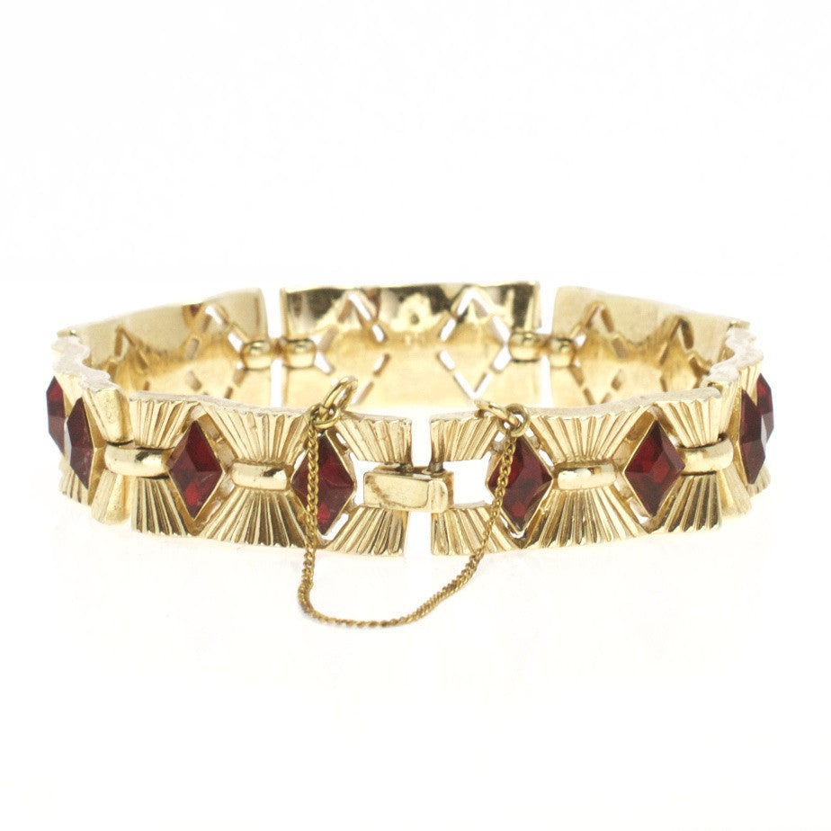 Trifari Red Crystal Vintage Bracelet