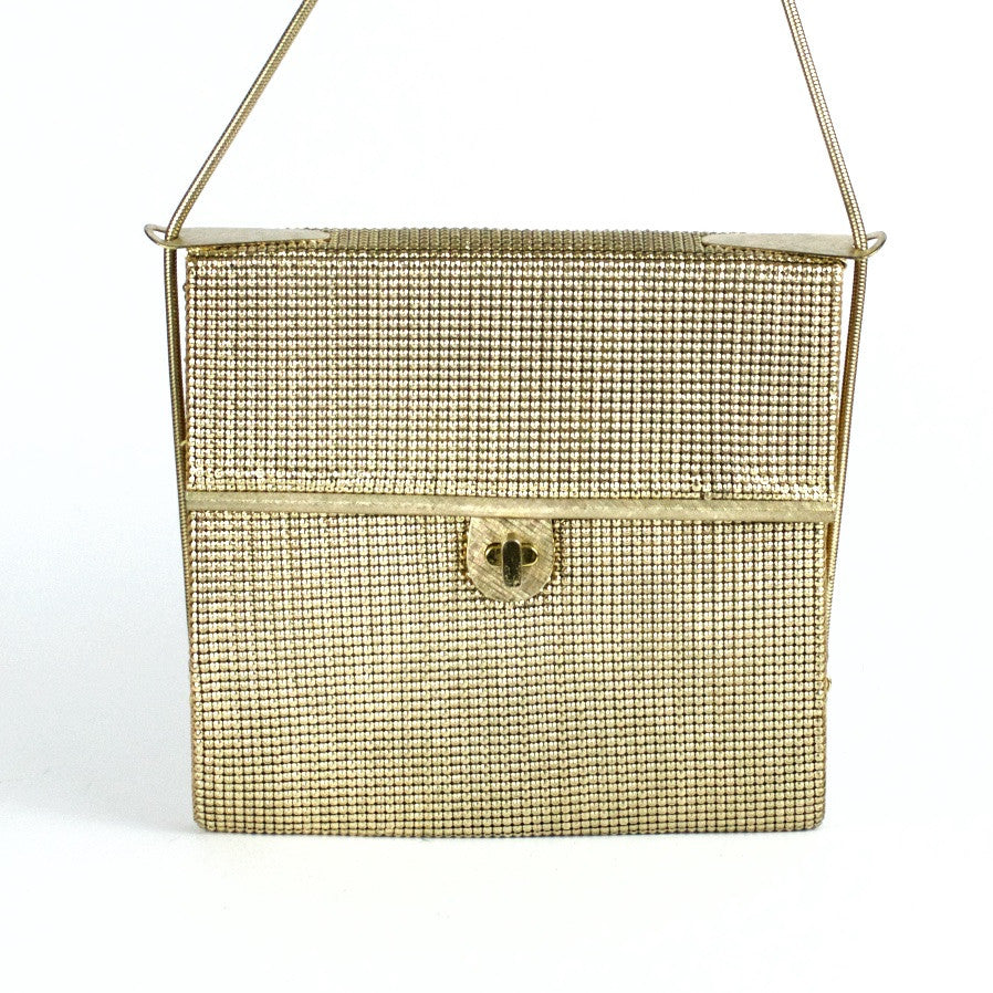 Vintage gold metal mesh evening bag by Glomesh, front view