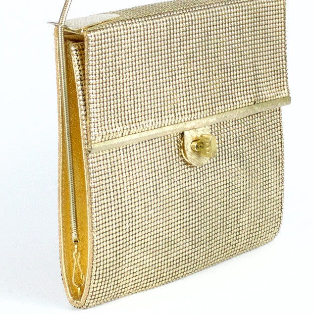 Vintage gold metal mesh evening bag by Glomesh, side view