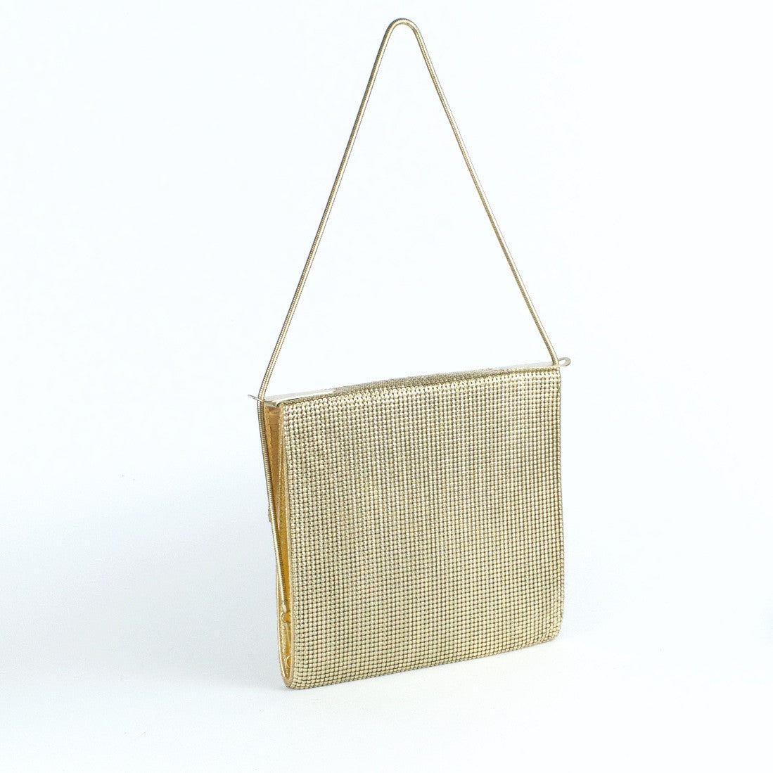 Vintage gold metal mesh evening bag by Glomesh, view back