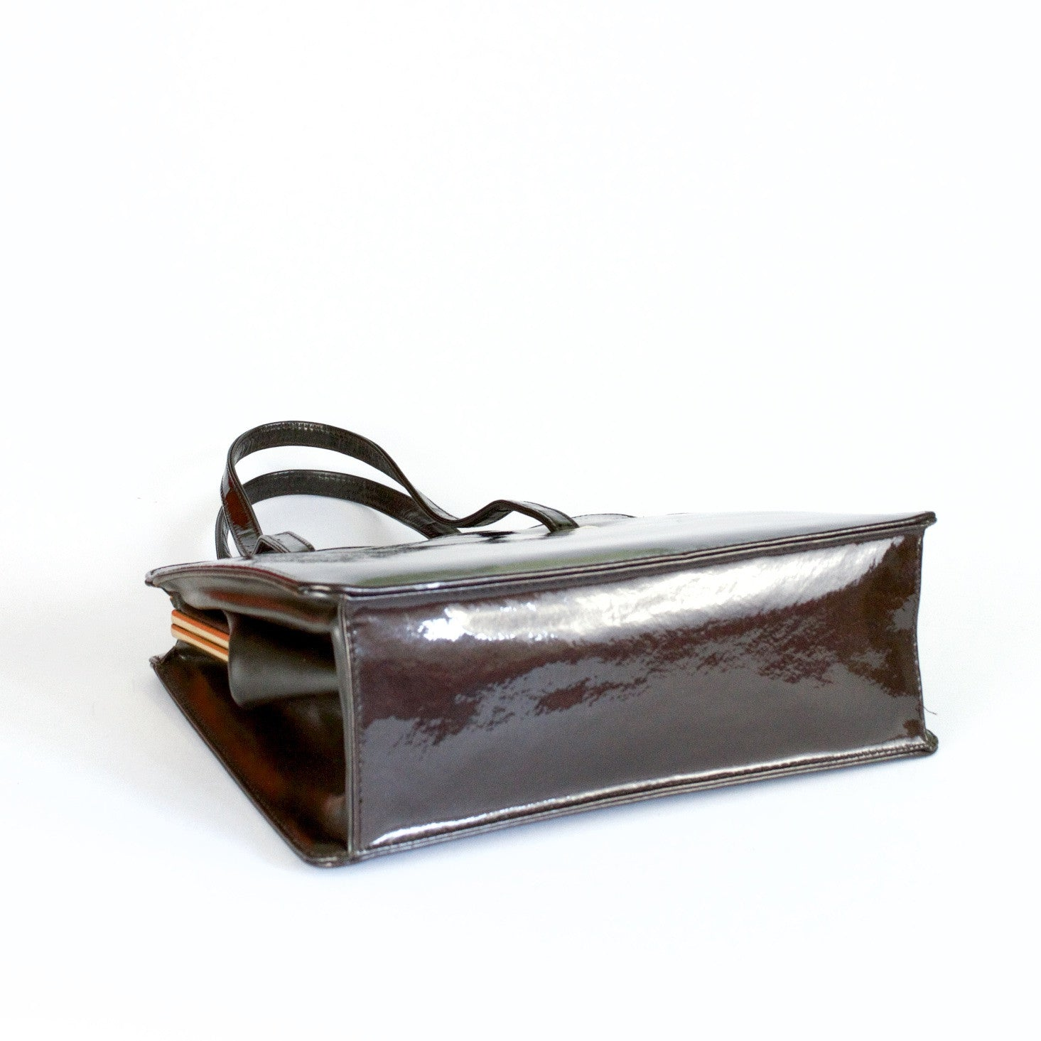 Brown patent leather vintage handbag by Widegate