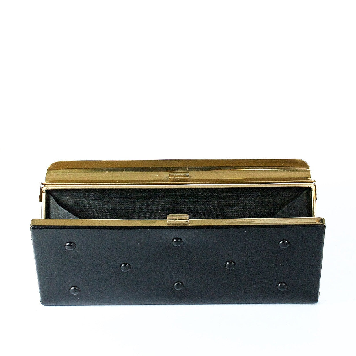 Vintage black studded clutch bag
