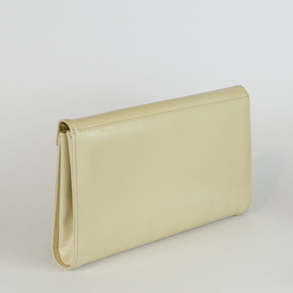Vintage large statement beige leather clutch bag by Eros