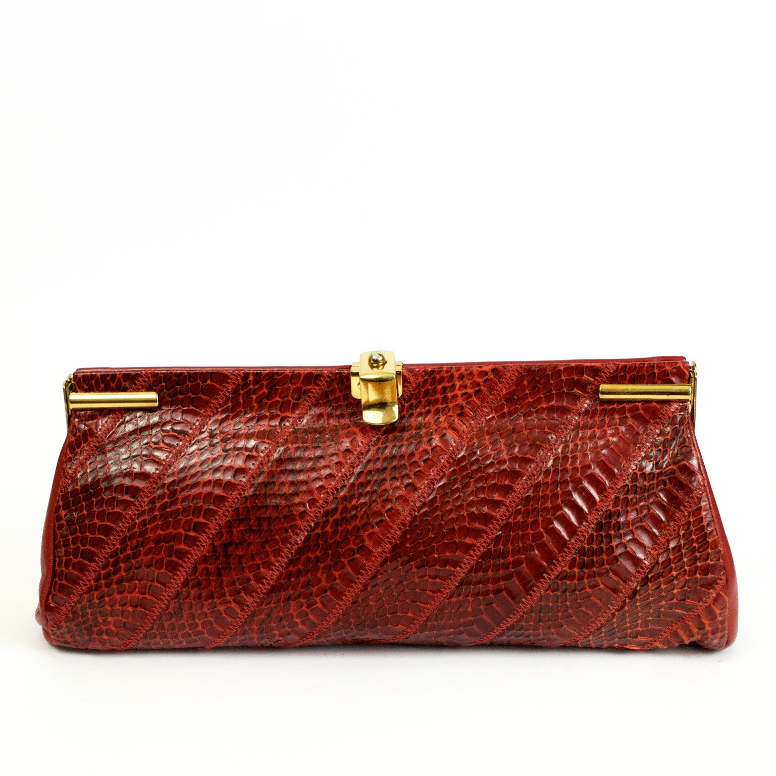 Vintage red snakeskin and leather clutch bag by Jane Shilton