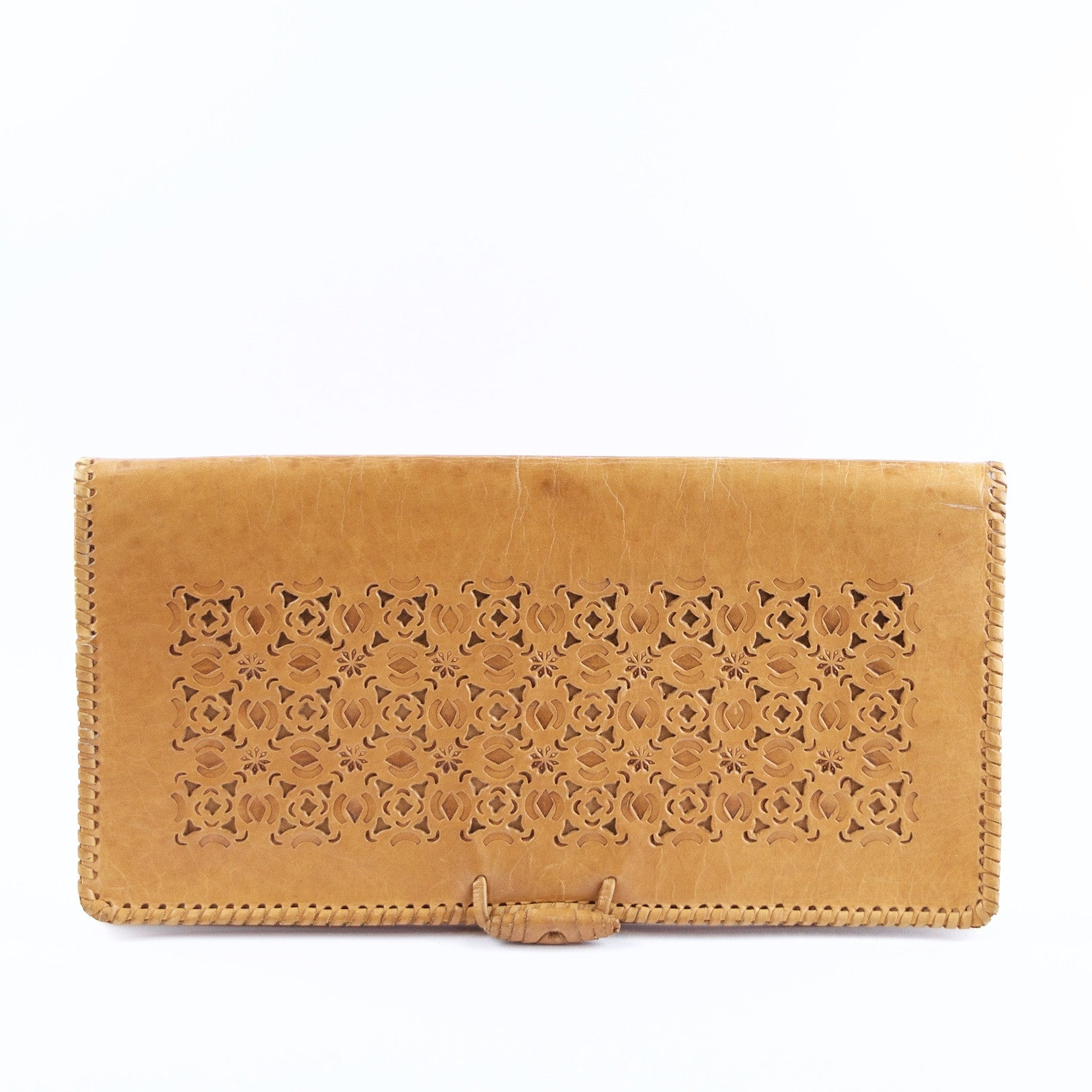 Vintage tan leather casual clutch bag