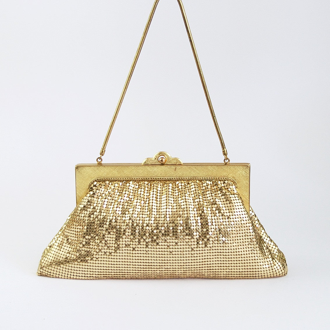 Vintage gold metal mesh evening bag by Oroton