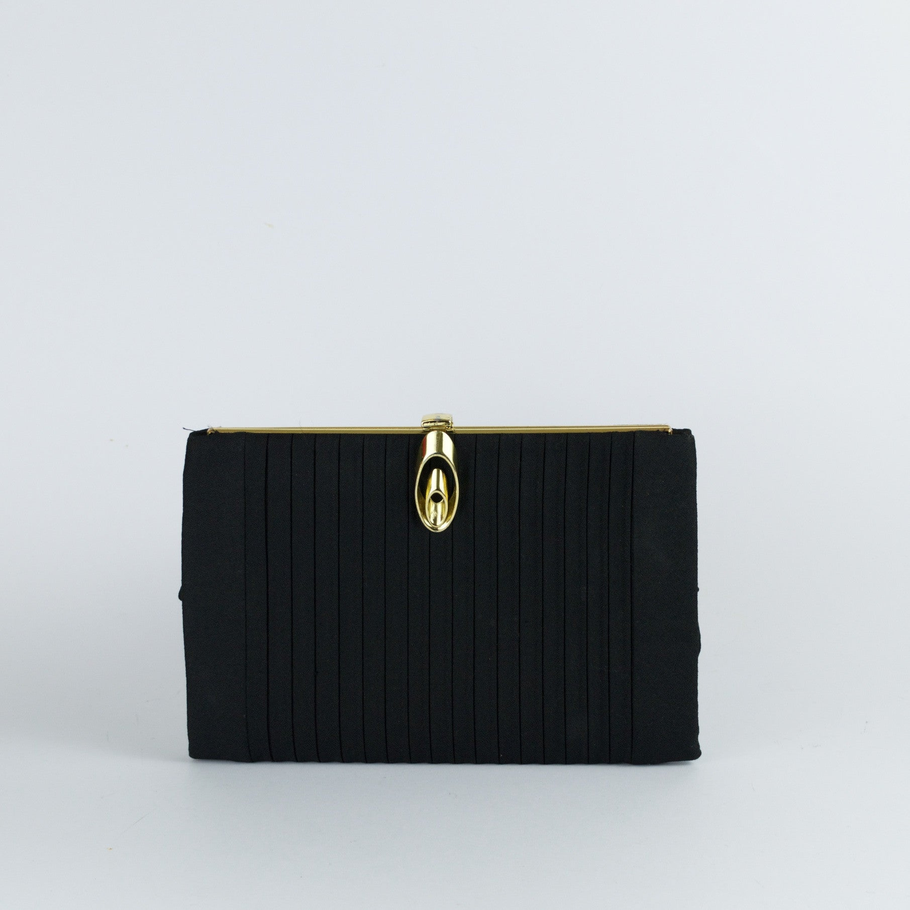 Vintage front pleated black crêpe evening bag by CRF
