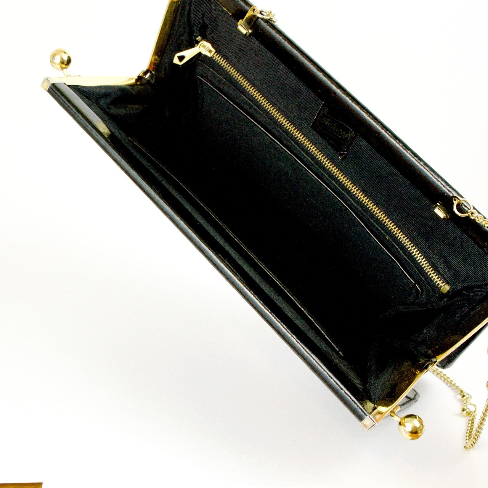 Vintage black leather clutch bag with double kiss clasp by Ackery