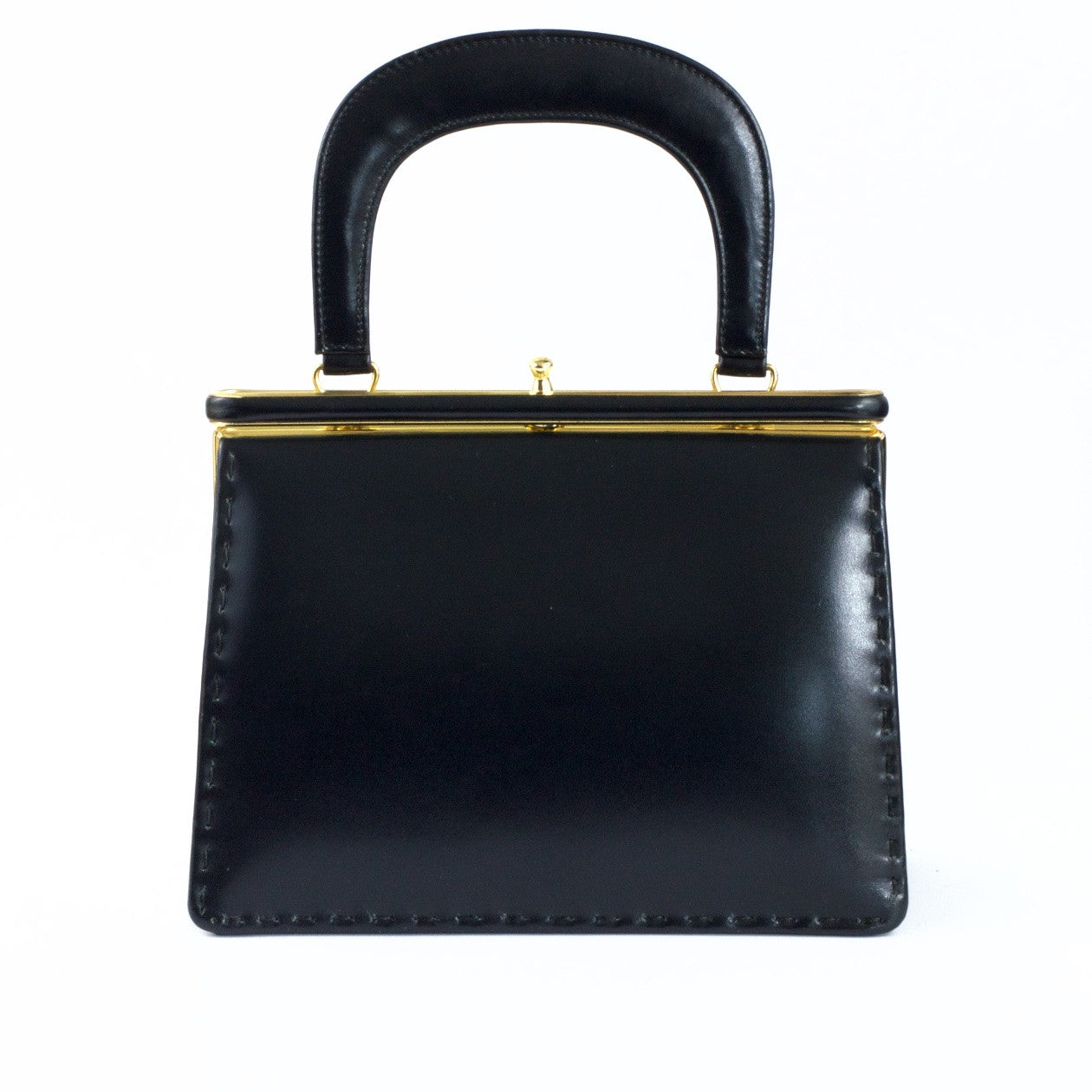 Vintage dark navy leather handbag by Widegate London