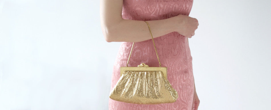 Oroton gold metal mesh vintage bag