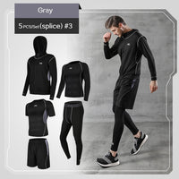 5 Pcs/Set Men's Tracksuit Gym Fitness Compression Sports Suit Clothes Running Jogging Sport Wear Exercise Workout Tights-thumbnail
