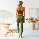 Seamless Yoga Set Women Fitness Clothing Sportswear Woman Gym Leggings Padded Push-up Strappy Sports Bra 2 Pcs Sports Suits
