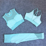 2/3Pcs Seamless Sport Set Women Fitness Sport Suit Bra/Crop Vest Hollow Out Leggings Set Workout Outfit Sport Wear Yoga Sets New