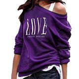 Women Sexy One Off Shoulder Sweatshirt Love Letter Print Long Sleeve Pullover new