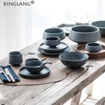 KINGLANG 1PCS Grey Nordic style Ceramic Bowls, cups and plates