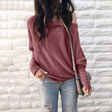 Off Shoulder long Sleeve Loose Knitted Sweater