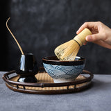 LUWU ceramic natural bamboo matcha whisk & ceremic matcha tea set