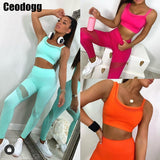 Women Tracksuit Yoga Set One Shoulder Seamless Fitness Suit Running Sport Bra Yoga Pants Leggings Female Costume Gym Clothing