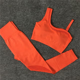 One Shoulder Seamless Sport Bra & Leggings Workout set