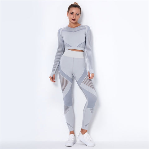 2 Piece Long Sleeve Crop Top + High Waist Running Legging Fitness Set