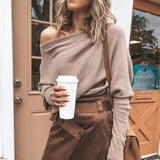 Sexy Women Sweaters Solid Color Off Shoulder Long Sleeve Sweater Loose Knitted Pullover jumpers female streetwear jumper