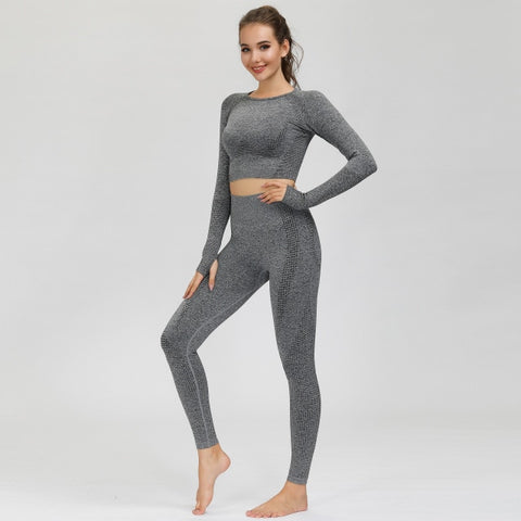 2 piece Workout set with leggings and long sleeve crop top