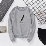 Feather Pattern Cotton Sweatshirt