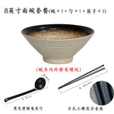 Japanese creative tableware set, commercial bamboo hat ceramic bowl, household large ramen, rice, noodles, soup bowl