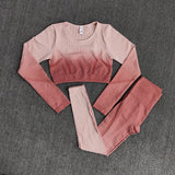 Ombre Long Sleeve Crop Top, Sports Bra & Seamless Leggings