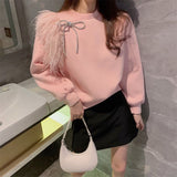 2020 autumn new sweet girl fairy feather bow loose sweatershirt
