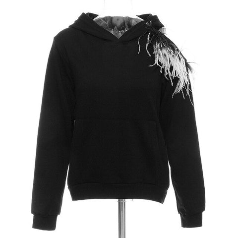 Black Hoody Sweatshirt with shoulder Feather Decoration