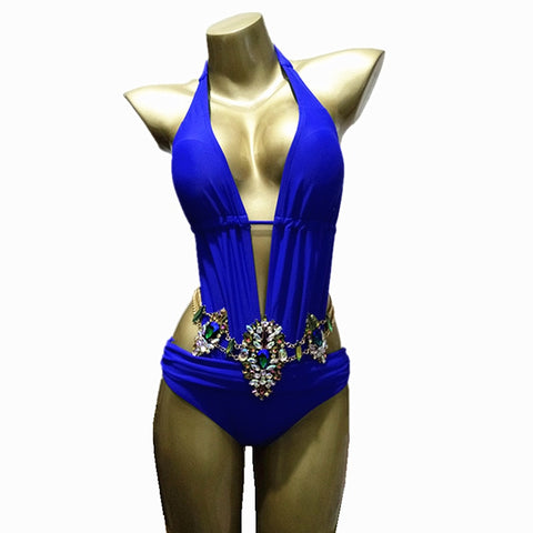 One-Piece Suits Backless Deep v Neck Rhinestone Swimsuit