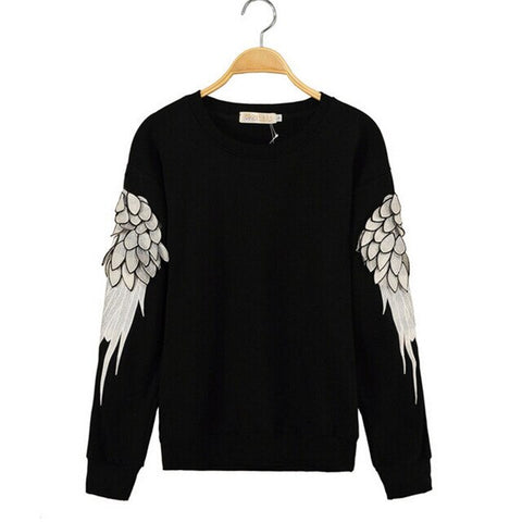 Feather Angel Wings Sleeve Casual Sweatshirt