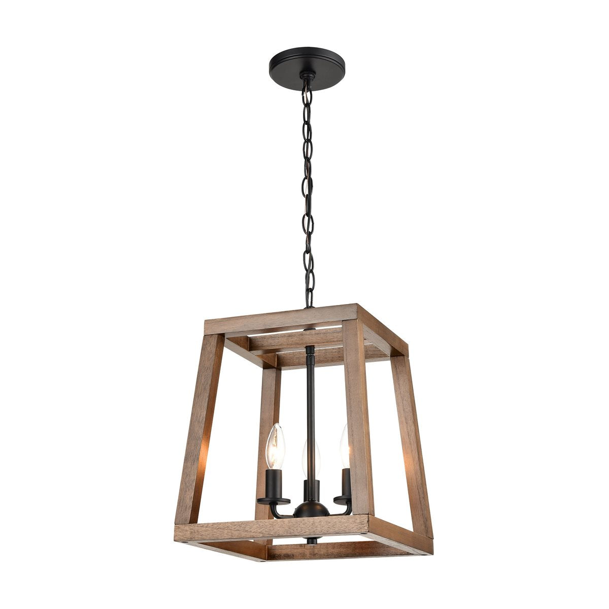Barrow 3-Light Chandelier in Birchwood and Matte Black