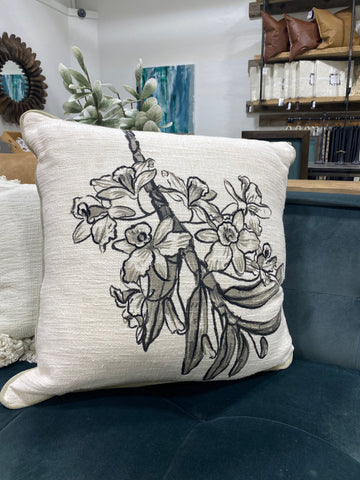 Velvet Floral Printed Pillow
