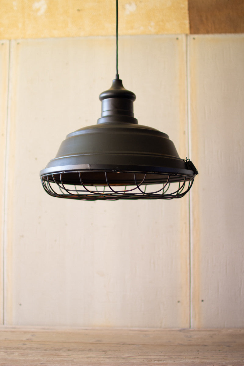 Black Metal Caged Pendant Light