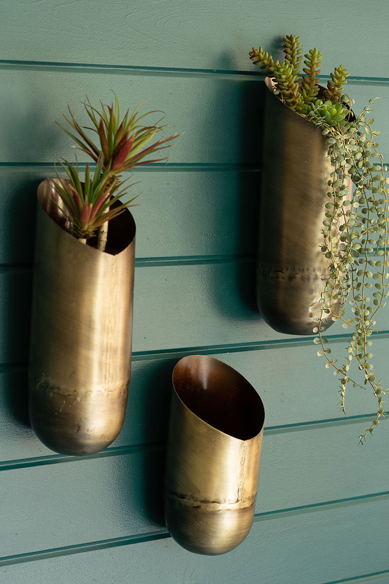 Antique Brass Wall Vases Trio