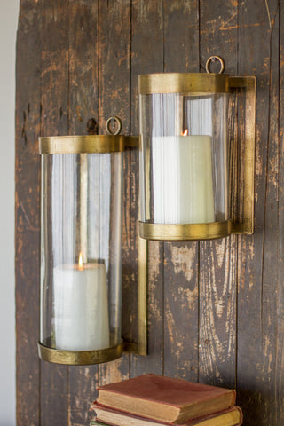 Glass and Antique Brass Finish Wall Mounted Hurricane