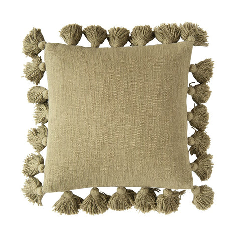 "Olive 18"" Square Cotton Pillow with Tassels"