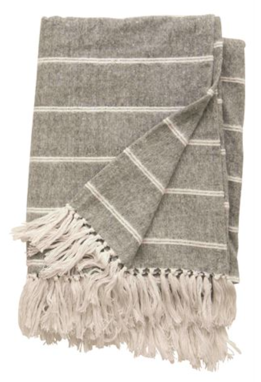 Brushed Cotton Striped Throw with Fringe
