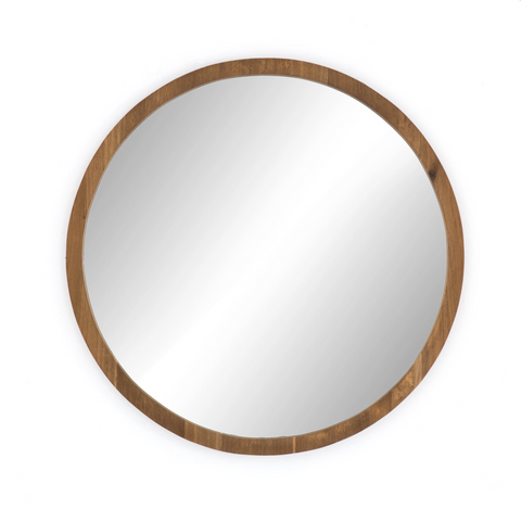 Smoked Oak Round Mirror