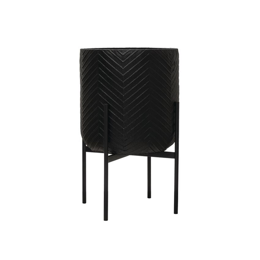 Matte Black Chevron Metal Planter